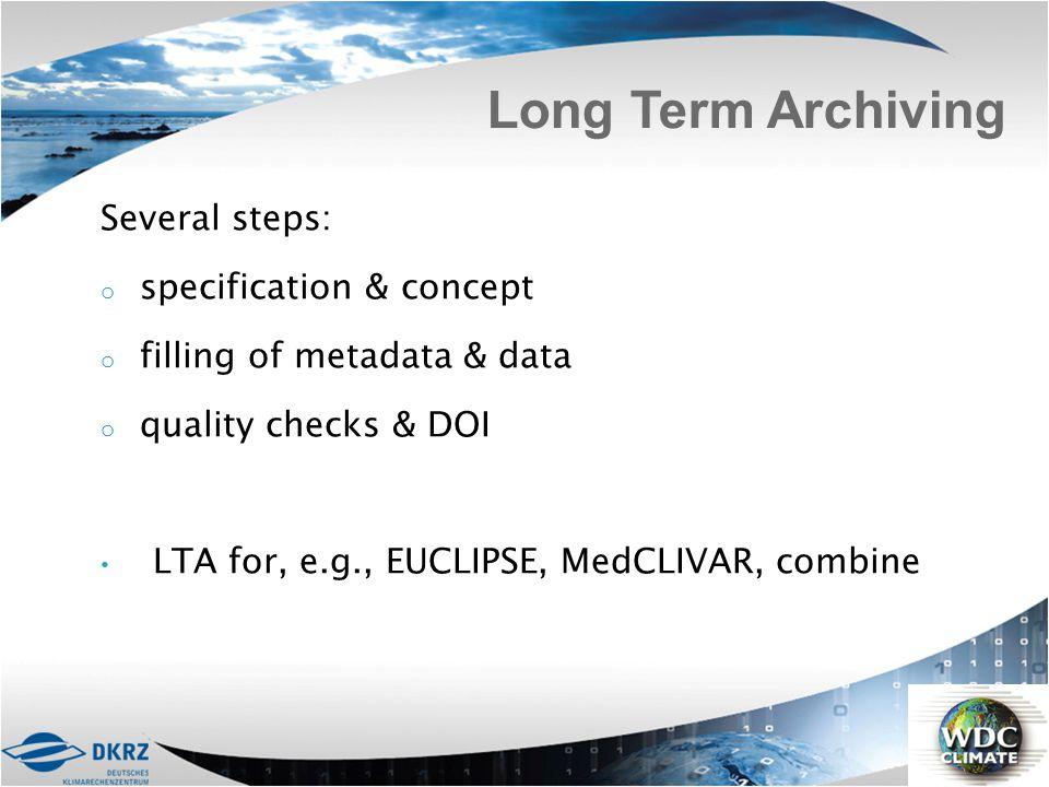 Several steps: o specification & concept o filling of metadata & data o quality checks & DOI LTA for, e.g., EUCLIPSE, MedCLIVAR, combine Long Term Arc