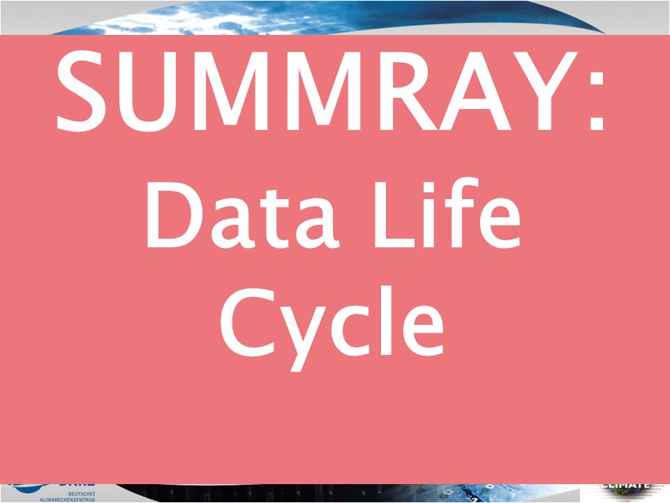 SUMMRAY: Data Life Cycle
