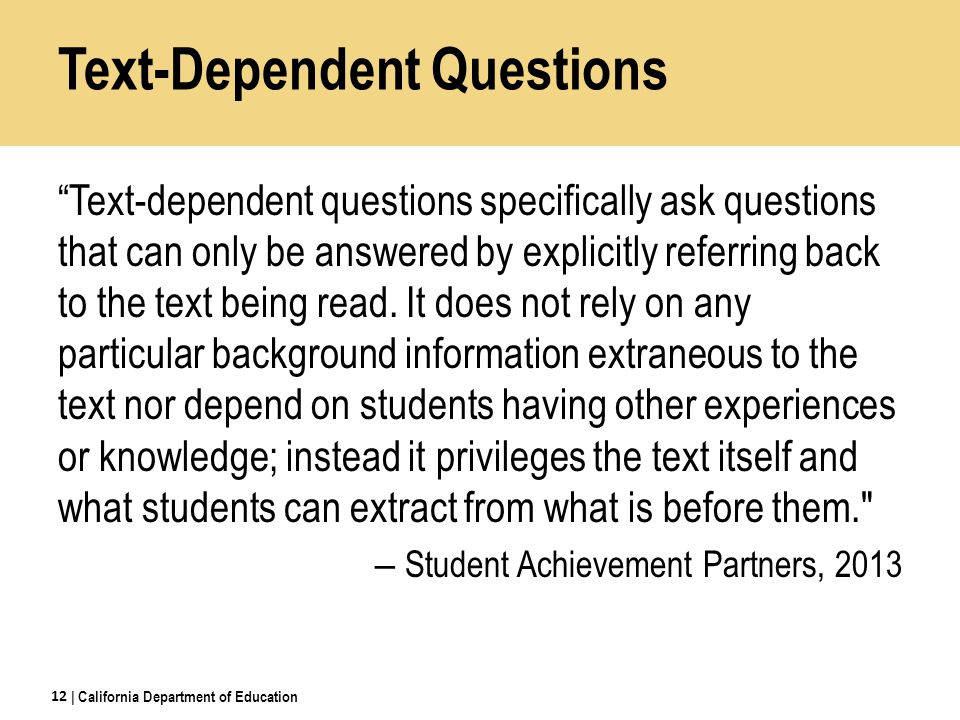 HSS Text-Dependent Questions for CCR Anchor Standards for Reading 1.Provide at least 2 quotes of evidence to support each claim.