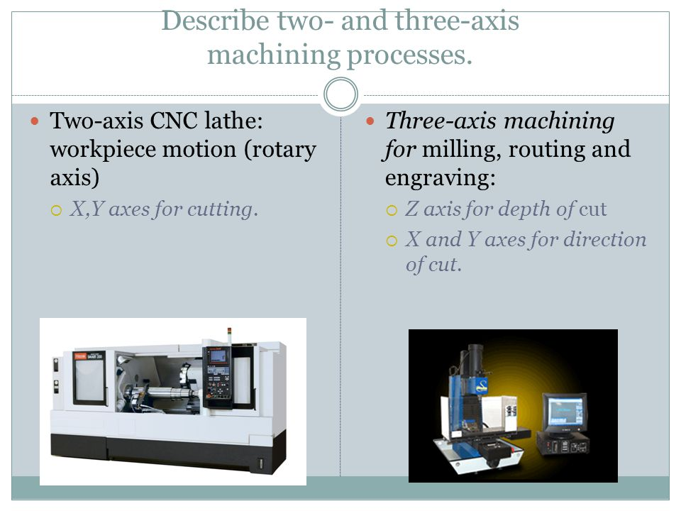 Describe two- and three-axis machining processes.