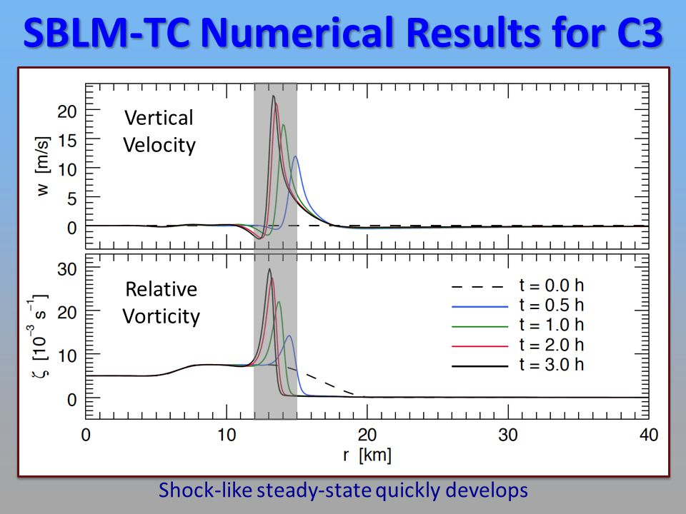 SBLM-TC Numerical Results for C3 Vertical Velocity Relative Vorticity Shock-like steady-state quickly develops