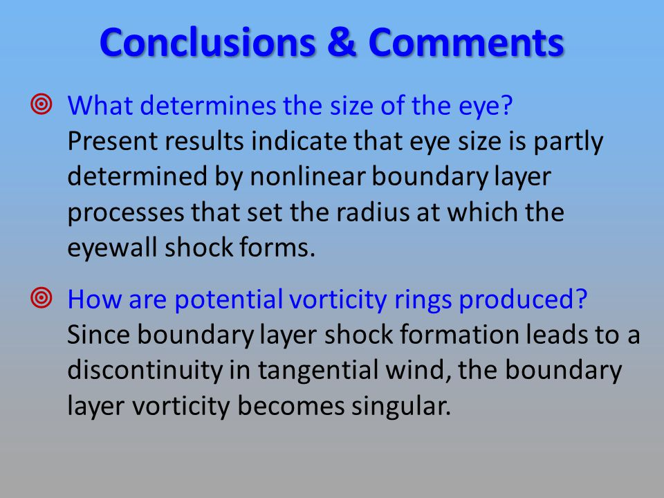 Conclusions & Comments  What determines the size of the eye.