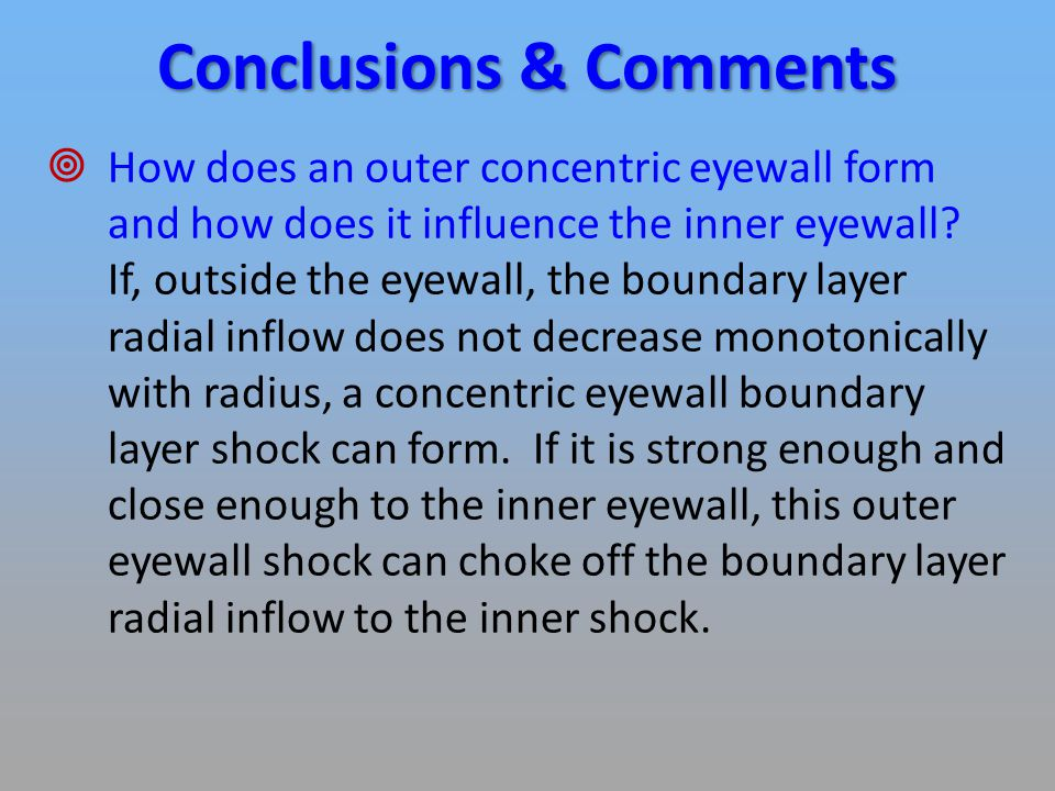 Conclusions & Comments  How does an outer concentric eyewall form and how does it influence the inner eyewall.