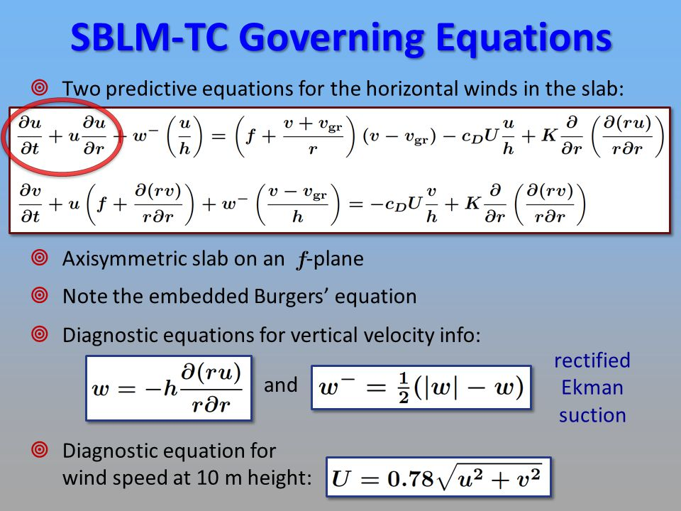 Derivation of SBLM-TC Equations  Define: absolute angular momentum per unit mass  Then: absolute angular momentum per unit horizontal area in the slab ( = constant)  Flux Form:  Advective Form: