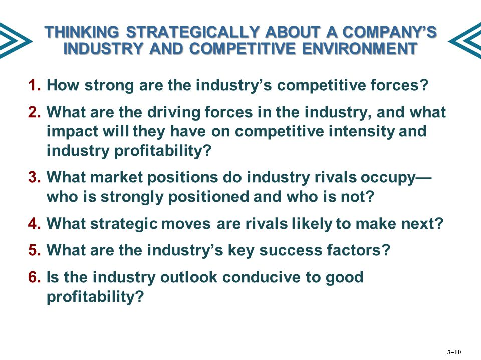THINKING STRATEGICALLY ABOUT A COMPANY'S INDUSTRY AND COMPETITIVE ENVIRONMENT 1. 1.How strong are the industry's competitive forces? 2. 2.What are the