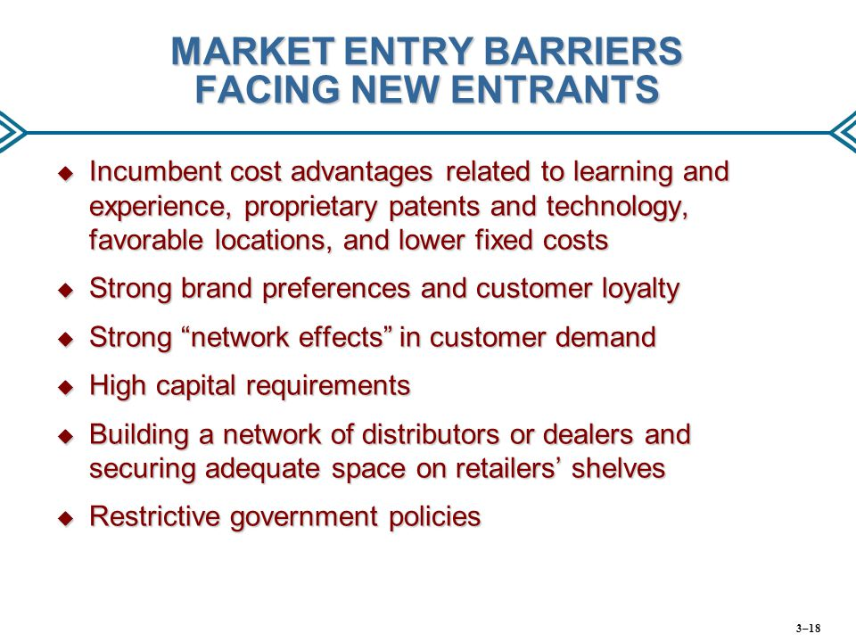 MARKET ENTRY BARRIERS FACING NEW ENTRANTS  Incumbent cost advantages related to learning and experience, proprietary patents and technology, favorabl