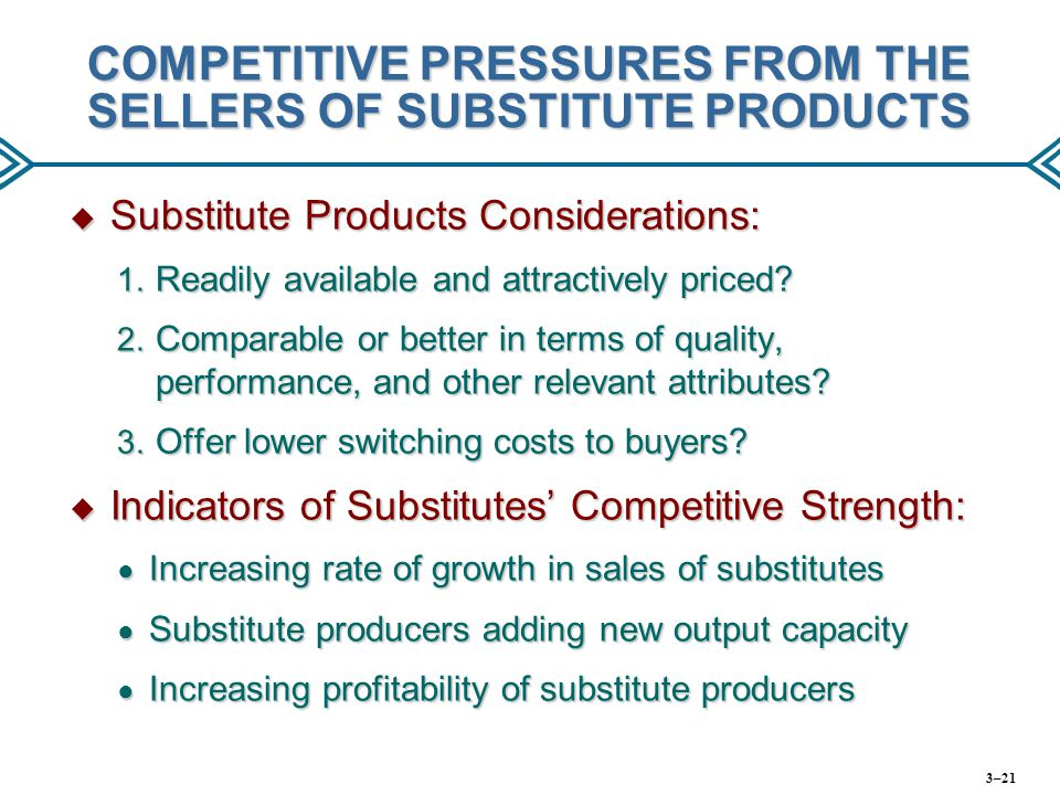 COMPETITIVE PRESSURES FROM THE SELLERS OF SUBSTITUTE PRODUCTS  Substitute Products Considerations: 1. Readily available and attractively priced? 2. C
