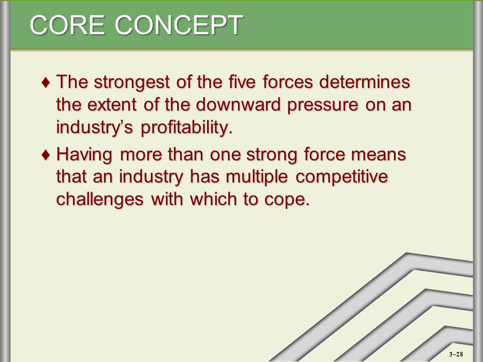 CORE CONCEPT ♦The strongest of the five forces determines the extent of the downward pressure on an industry's profitability. ♦Having more than one st