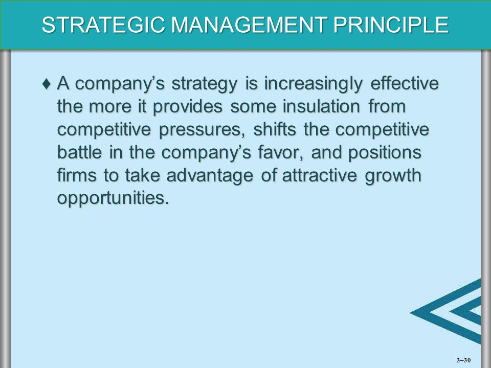 STRATEGIC MANAGEMENT PRINCIPLE ♦A company's strategy is increasingly effective the more it provides some insulation from competitive pressures, shifts
