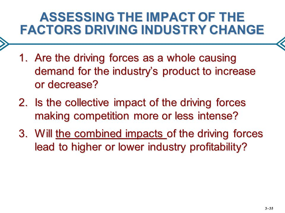 ASSESSING THE IMPACT OF THE FACTORS DRIVING INDUSTRY CHANGE 1.Are the driving forces as a whole causing demand for the industry's product to increase