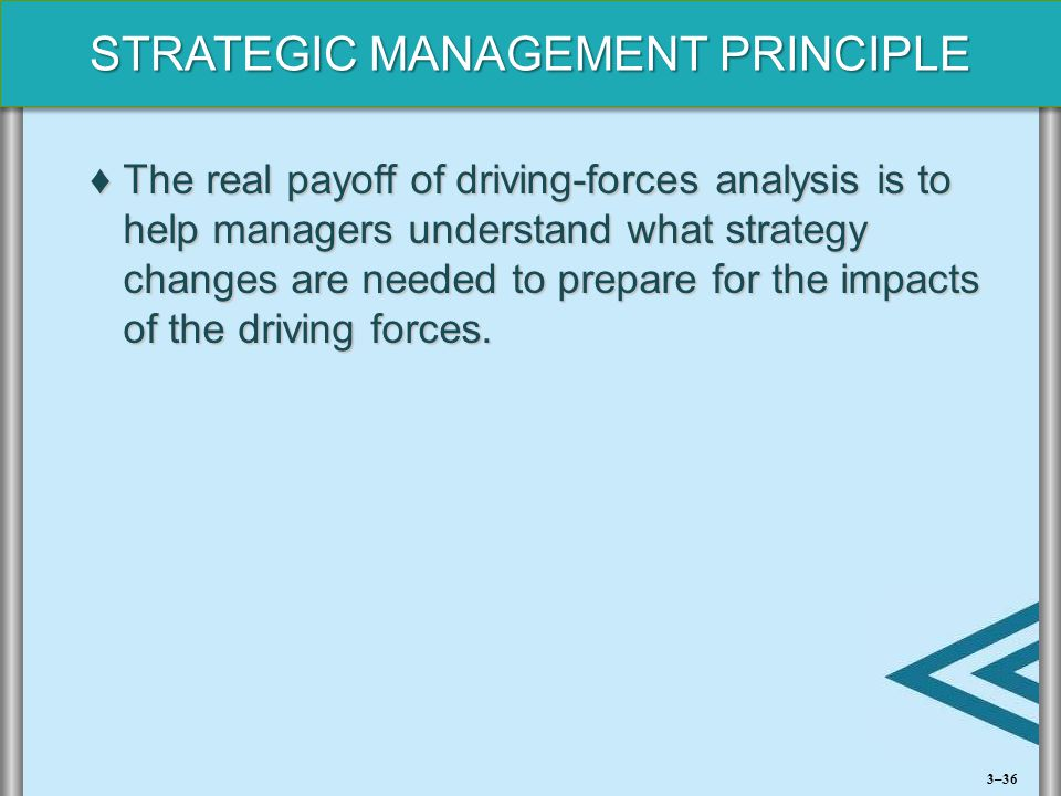 STRATEGIC MANAGEMENT PRINCIPLE ♦The real payoff of driving-forces analysis is to help managers understand what strategy changes are needed to prepare