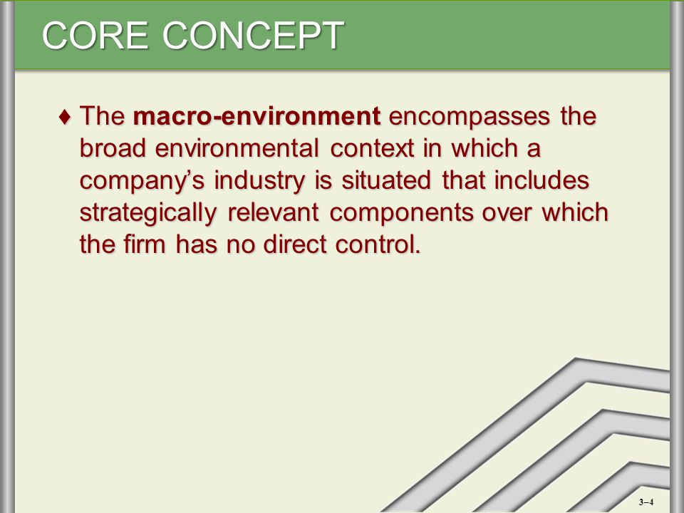 CORE CONCEPT ♦The macro-environment encompasses the broad environmental context in which a company's industry is situated that includes strategically