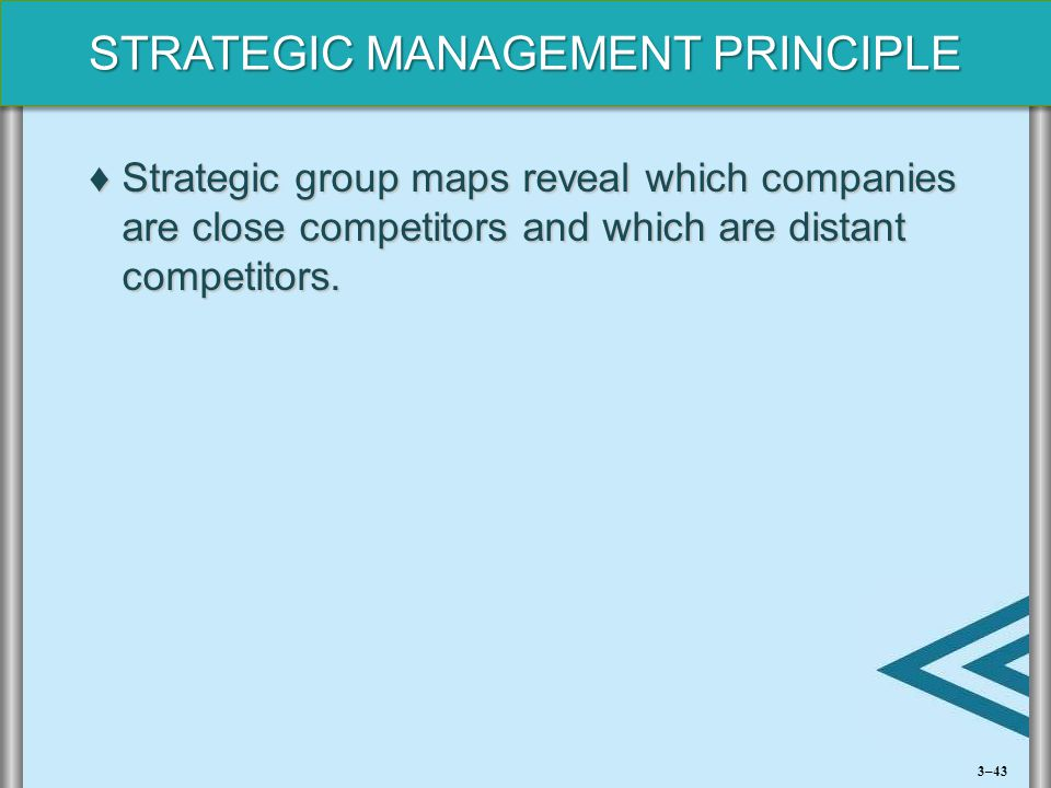 STRATEGIC MANAGEMENT PRINCIPLE ♦Strategic group maps reveal which companies are close competitors and which are distant competitors. 3–43