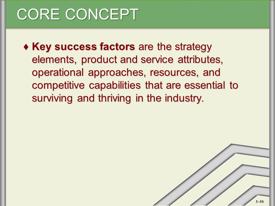 CORE CONCEPT ♦Key success factors are the strategy elements, product and service attributes, operational approaches, resources, and competitive capabi