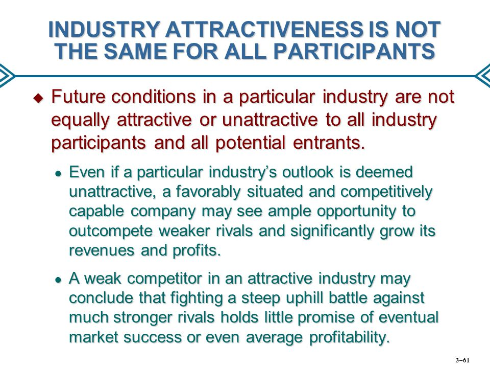 INDUSTRY ATTRACTIVENESS IS NOT THE SAME FOR ALL PARTICIPANTS  Future conditions in a particular industry are not equally attractive or unattractive t