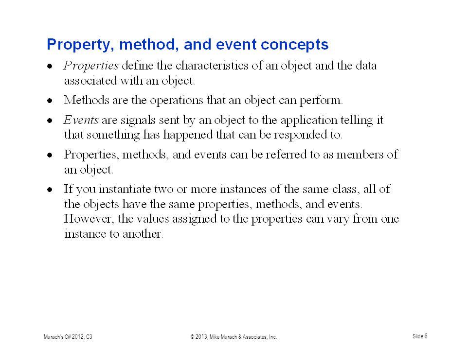 Murach s C# 2012, C3© 2013, Mike Murach & Associates, Inc. Slide 6