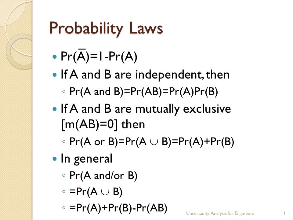 Probability Laws Pr(A)=1-Pr(A) If A and B are independent, then ◦ Pr(A and B)=Pr(AB)=Pr(A)Pr(B) If A and B are mutually exclusive [m(AB)=0] then ◦ Pr(A or B)=Pr(A  B)=Pr(A)+Pr(B) In general ◦ Pr(A and/or B) ◦ =Pr(A  B) ◦ =Pr(A)+Pr(B)-Pr(AB) Uncertainty Analysis for Engineers11