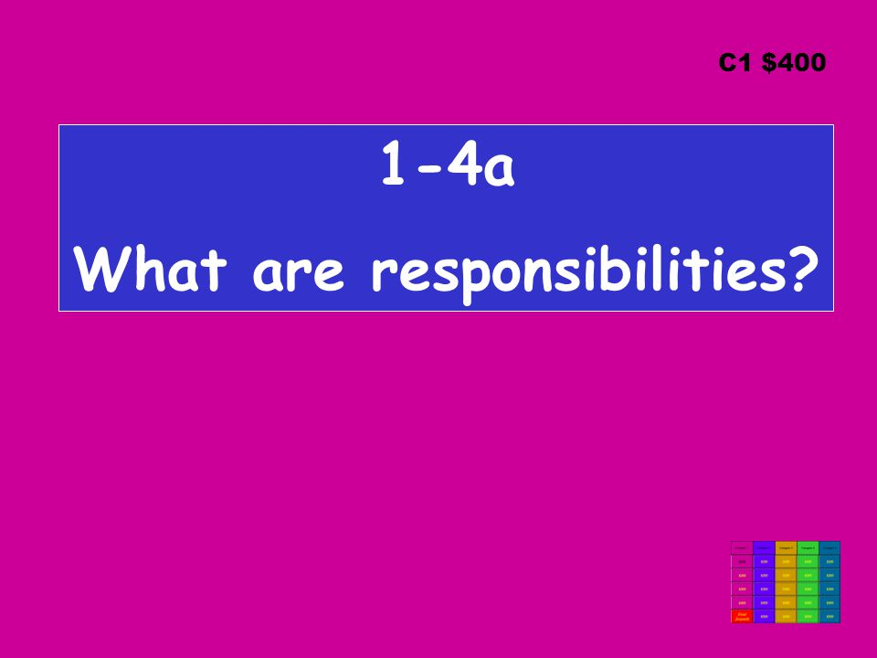 1-4a What are responsibilities C1 $400