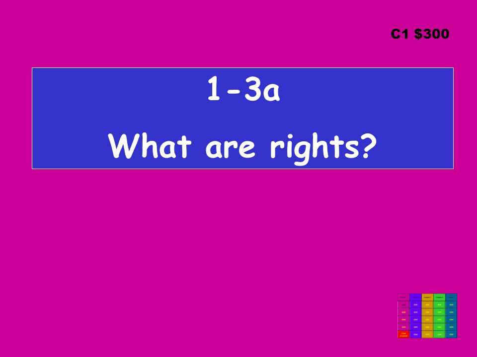 1-3a What are rights C1 $300