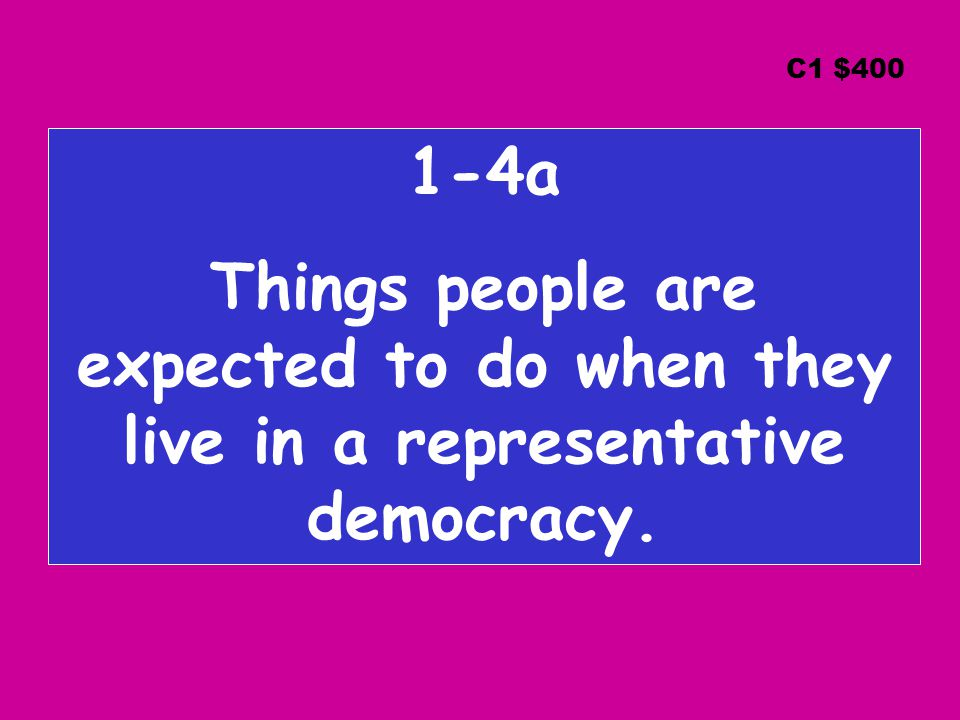 1-4a Things people are expected to do when they live in a representative democracy. C1 $400