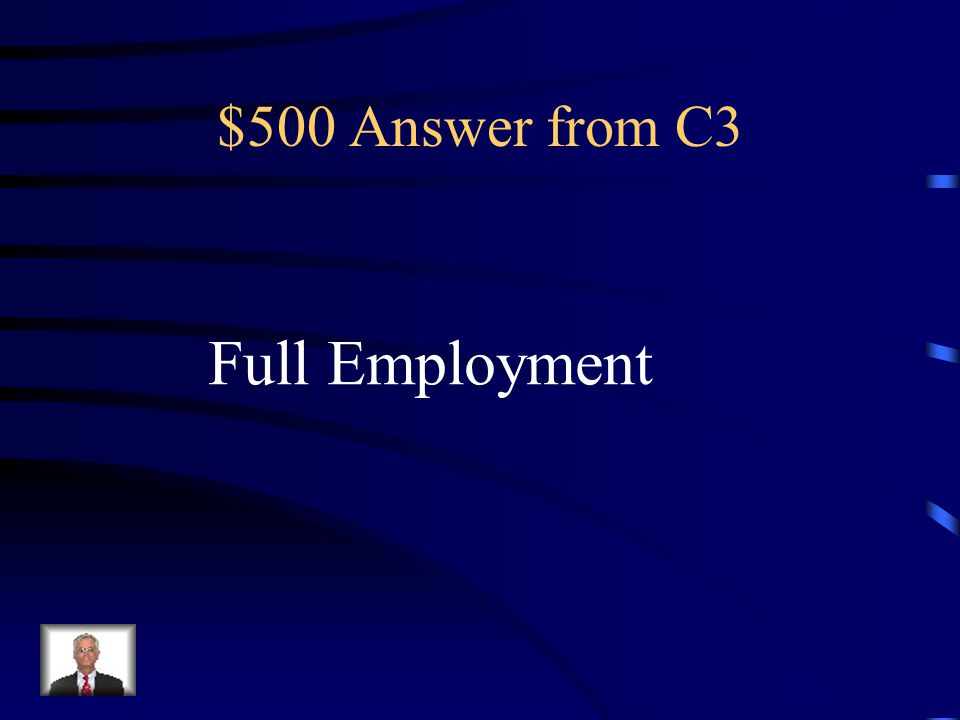$500 Question from C3 The level of employment that is reached when there is no cyclical unemployment