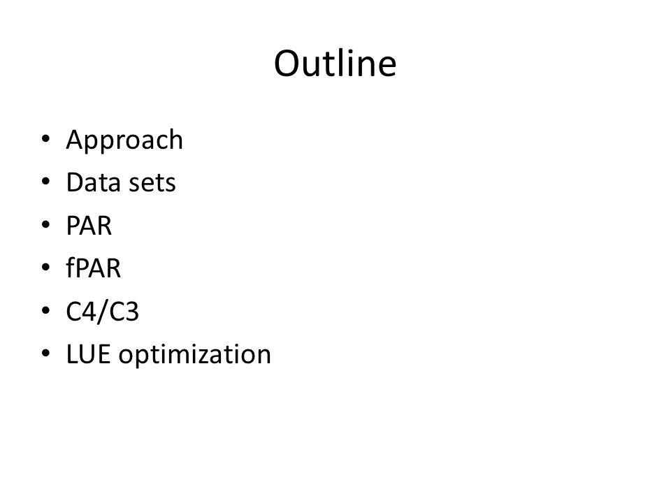 Outline Approach Data sets PAR fPAR C4/C3 LUE optimization