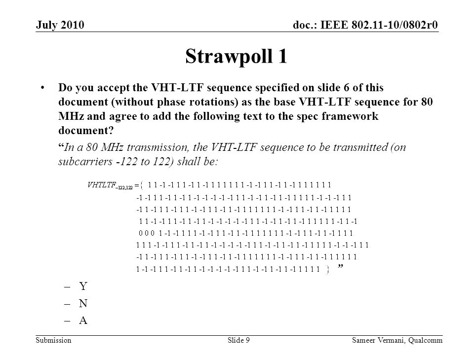 doc.: IEEE /0802r0 Submission Strawpoll 1 Do you accept the VHT-LTF sequence specified on slide 6 of this document (without phase rotations) as the base VHT-LTF sequence for 80 MHz and agree to add the following text to the spec framework document.