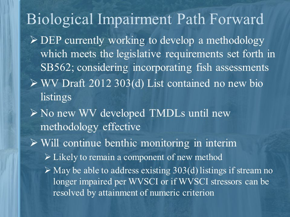 Biological Impairment Path Forward  DEP currently working to develop a methodology which meets the legislative requirements set forth in SB562; considering incorporating fish assessments  WV Draft 2012 303(d) List contained no new bio listings  No new WV developed TMDLs until new methodology effective  Will continue benthic monitoring in interim  Likely to remain a component of new method  May be able to address existing 303(d) listings if stream no longer impaired per WVSCI or if WVSCI stressors can be resolved by attainment of numeric criterion