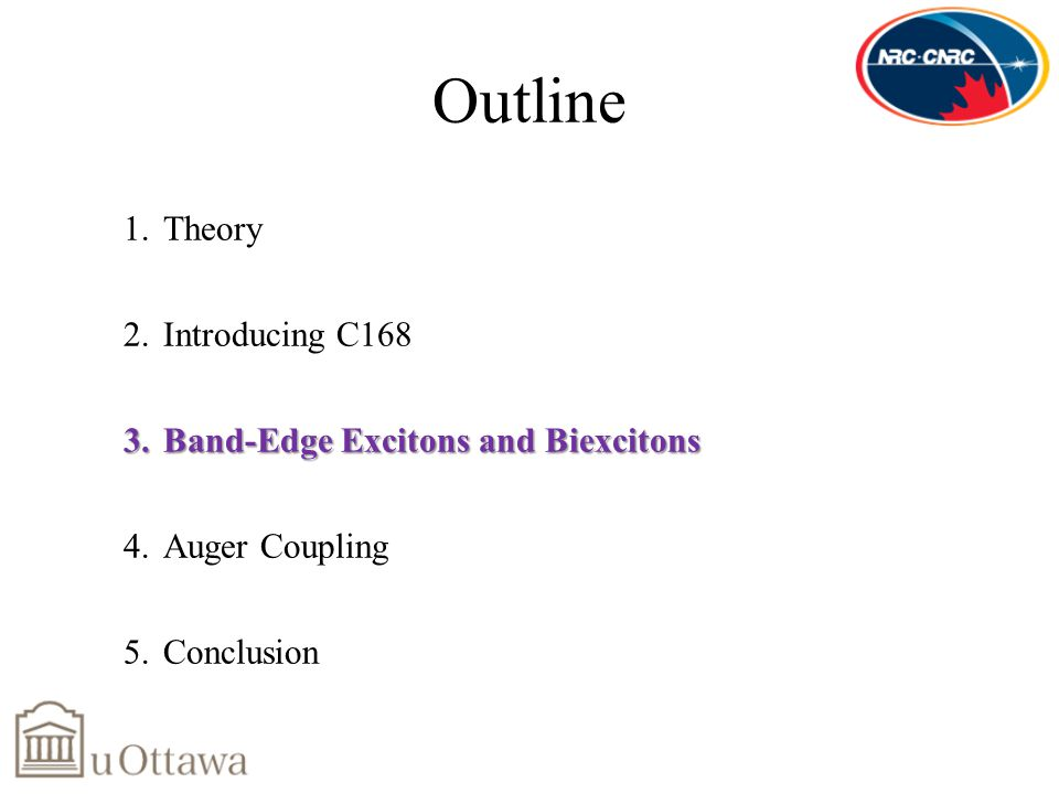 Outline 1.Theory 2.Introducing C168 3.Band-Edge Excitons and Biexcitons 4.Auger Coupling 5.Conclusion
