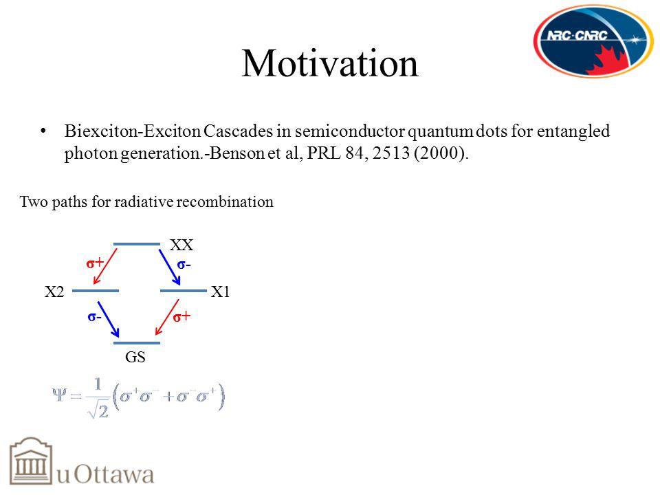 Motivation Biexciton-Exciton Cascades in semiconductor quantum dots for entangled photon generation.-Benson et al, PRL 84, 2513 (2000).