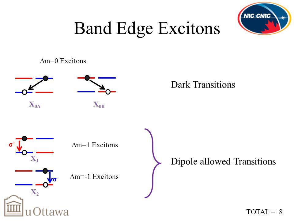 Band Edge Excitons Δm=0 Excitons Δm=1 Excitons Δm=-1 Excitons Dipole allowed Transitions σ+σ+ σ-σ- X1X1 X2X2 X 0A X 0B Dark Transitions TOTAL = 8