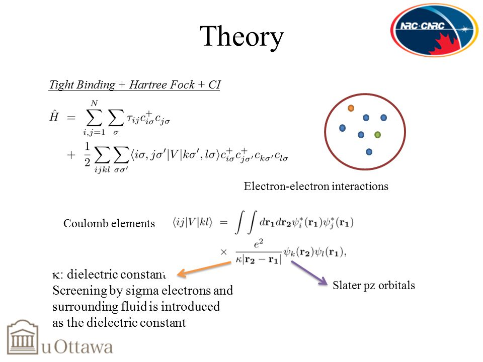  : dielectric constant Screening by sigma electrons and surrounding fluid is introduced as the dielectric constant Theory Tight Binding + Hartree Fock + CI Electron-electron interactions Slater pz orbitals Coulomb elements