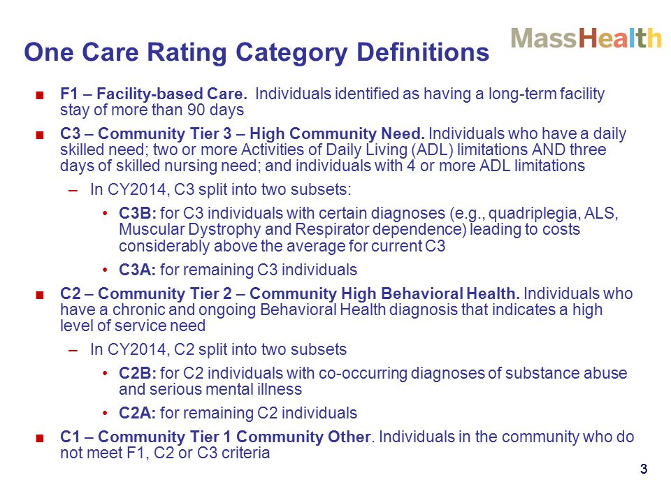 3 ■F1 – Facility-based Care. Individuals identified as having a long-term facility stay of more than 90 days ■C3 – Community Tier 3 – High Community N