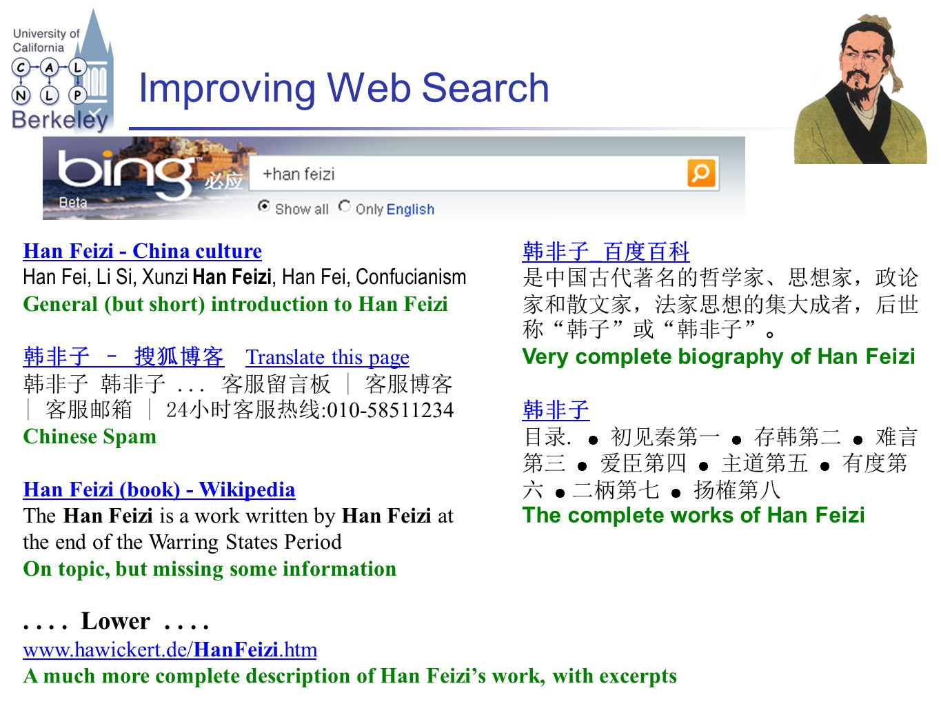 Improving Web Search Han Feizi - China culture Han Fei, Li Si, Xunzi Han Feizi, Han Fei, Confucianism General (but short) introduction to Han Feizi 韩非子 – 搜狐博客 Translate this page 韩非子 韩非子...