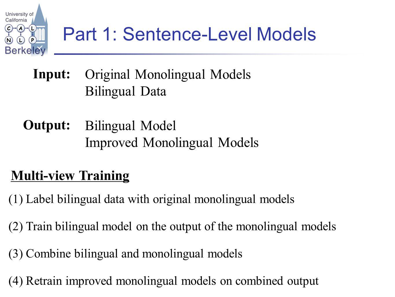 Part 1: Sentence-Level Models Input: Original Monolingual Models Bilingual Data Output: Bilingual Model Improved Monolingual Models (1) Label bilingual data with original monolingual models (2) Train bilingual model on the output of the monolingual models (3) Combine bilingual and monolingual models (4) Retrain improved monolingual models on combined output Multi-view Training
