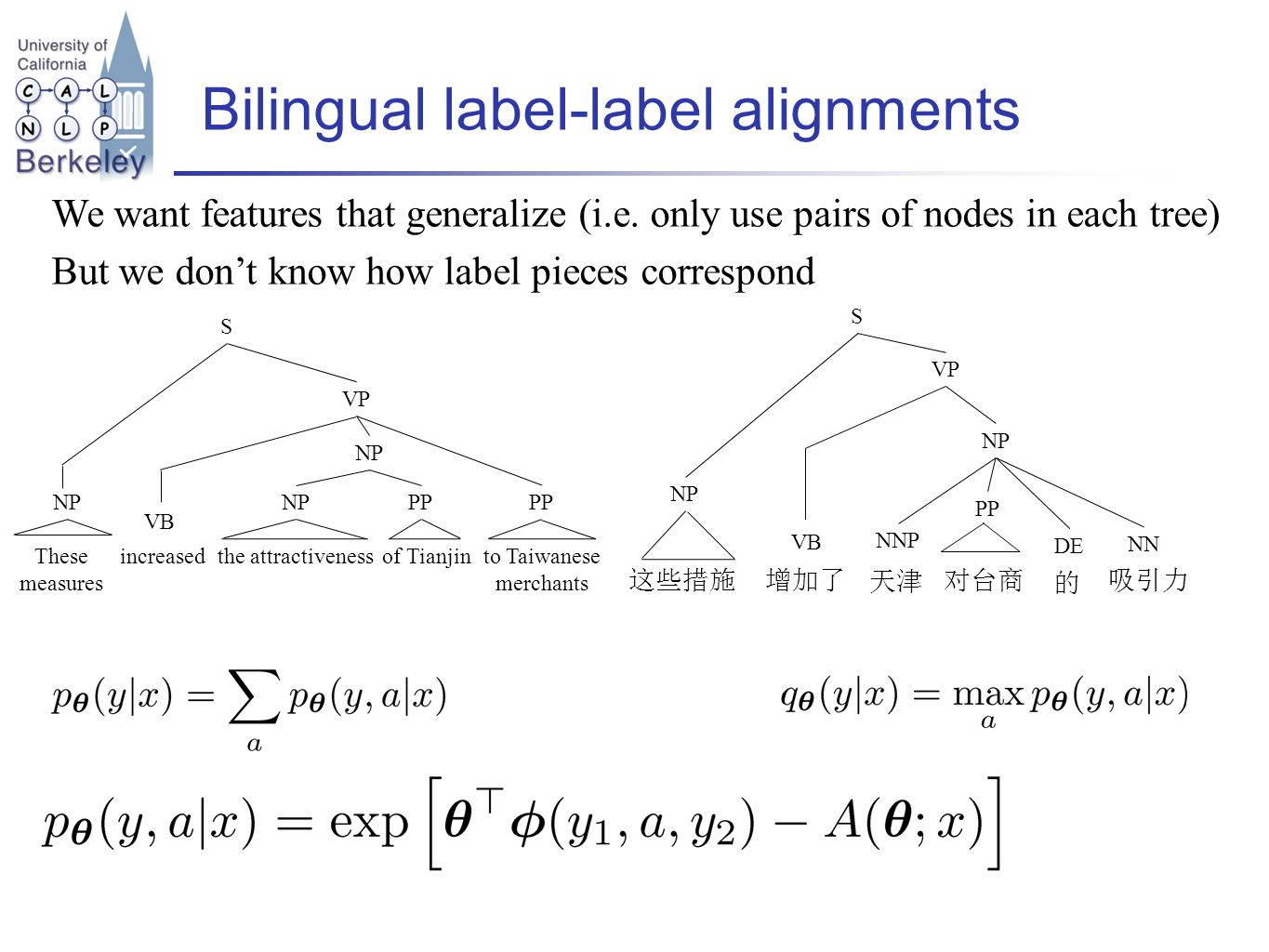 Bilingual label-label alignments We want features that generalize (i.e.
