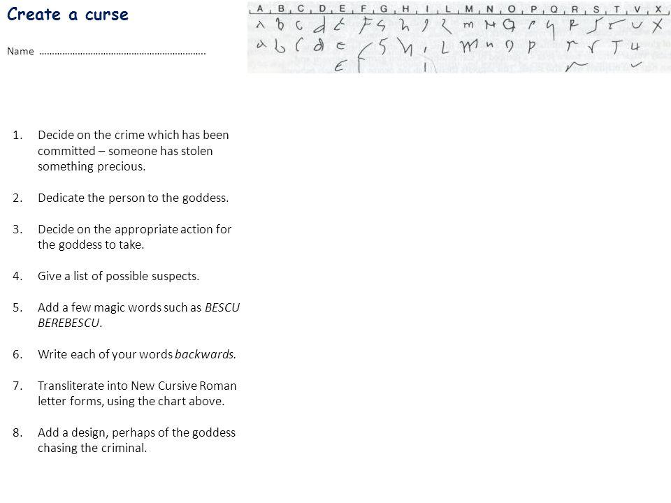 Create a curse Name ………………………………………………………..
