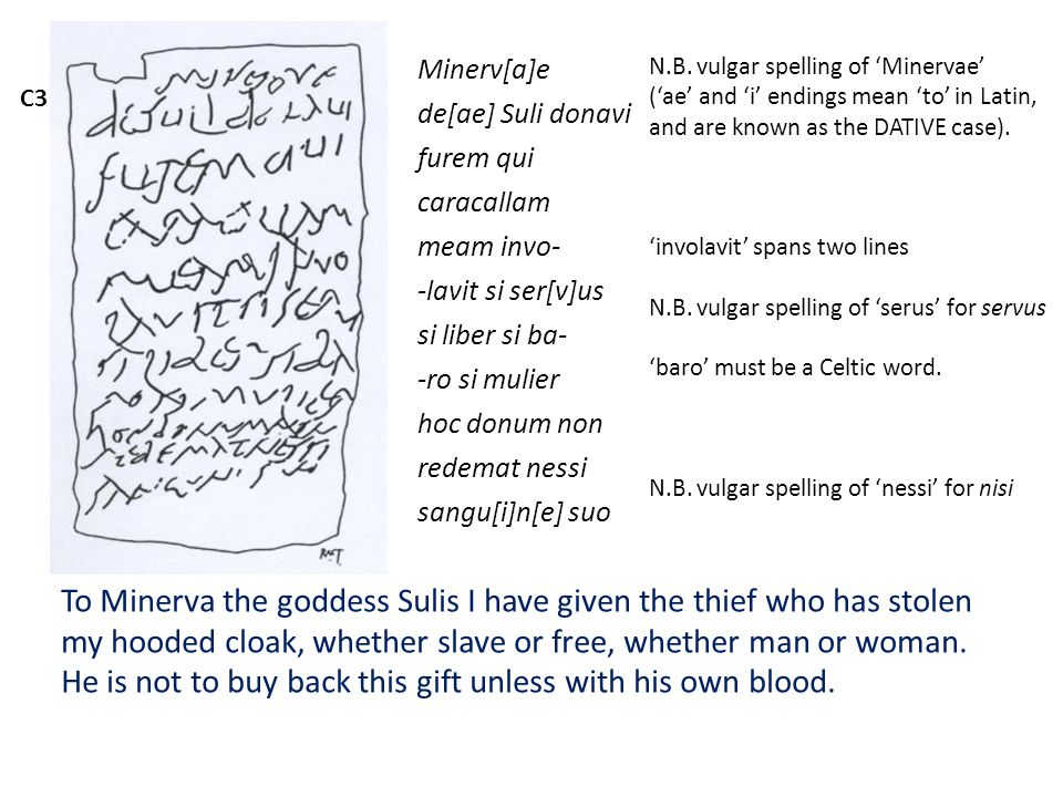 C3 Minerv[a]e de[ae] Suli donavi furem qui caracallam meam invo- -lavit si ser[v]us si liber si ba- -ro si mulier hoc donum non redemat nessi sangu[i]n[e] suo To Minerva the goddess Sulis I have given the thief who has stolen my hooded cloak, whether slave or free, whether man or woman.