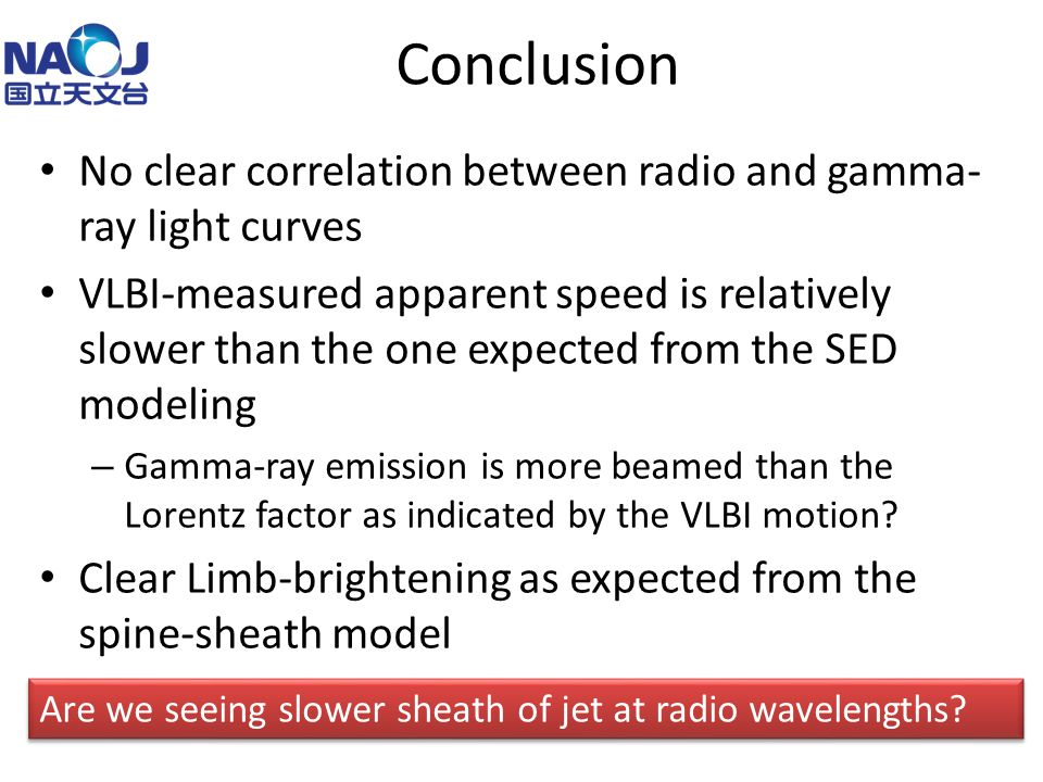 Conclusion No clear correlation between radio and gamma- ray light curves VLBI-measured apparent speed is relatively slower than the one expected from the SED modeling – Gamma-ray emission is more beamed than the Lorentz factor as indicated by the VLBI motion.