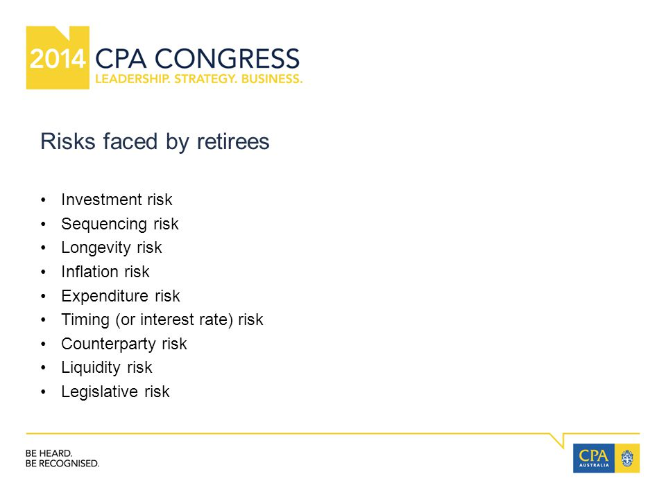 Risks faced by retirees Investment risk Sequencing risk Longevity risk Inflation risk Expenditure risk Timing (or interest rate) risk Counterparty risk Liquidity risk Legislative risk