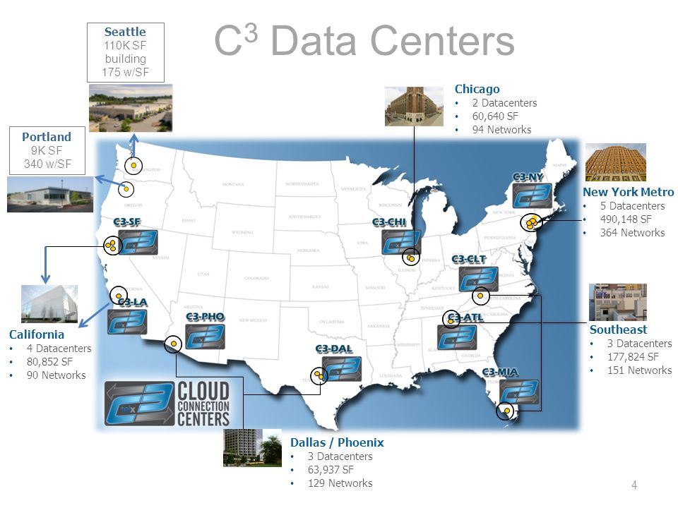 C 3 Data Centers California 4 Datacenters 80,852 SF 90 Networks Dallas / Phoenix 3 Datacenters 63,937 SF 129 Networks Southeast 3 Datacenters 177,824 SF 151 Networks New York Metro 5 Datacenters 490,148 SF 364 Networks Chicago 2 Datacenters 60,640 SF 94 Networks 4 Portland 9K SF 340 w/SF Seattle 110K SF building 175 w/SF