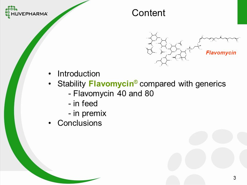 3 Introduction Stability Flavomycin ® compared with generics - Flavomycin 40 and 80 - in feed - in premix Conclusions Flavomycin