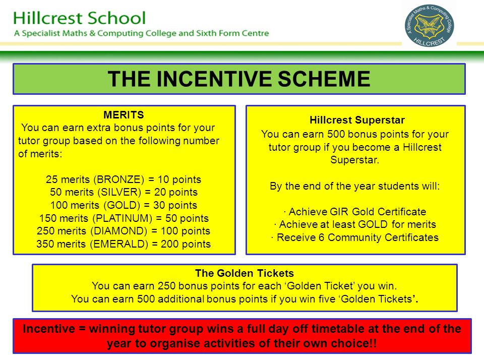 THE INCENTIVE SCHEME MERITS You can earn extra bonus points for your tutor group based on the following number of merits: 25 merits (BRONZE) = 10 poin