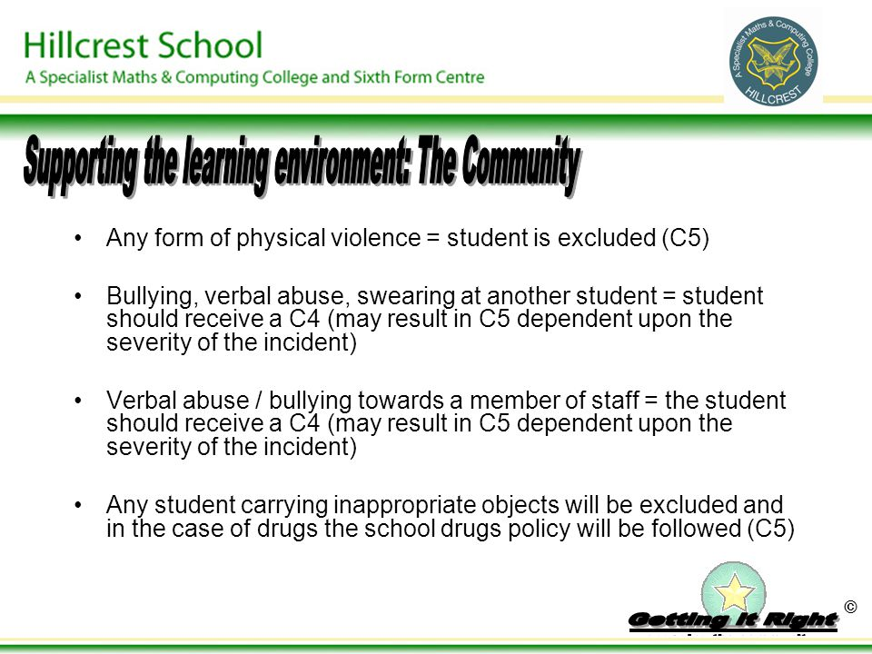© Any form of physical violence = student is excluded (C5) Bullying, verbal abuse, swearing at another student = student should receive a C4 (may resu