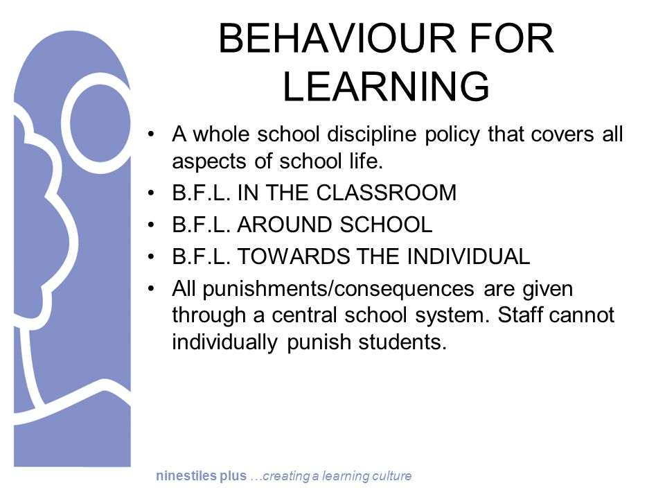 ninestiles plus …creating a learning culture BEHAVIOUR FOR LEARNING A whole school discipline policy that covers all aspects of school life.