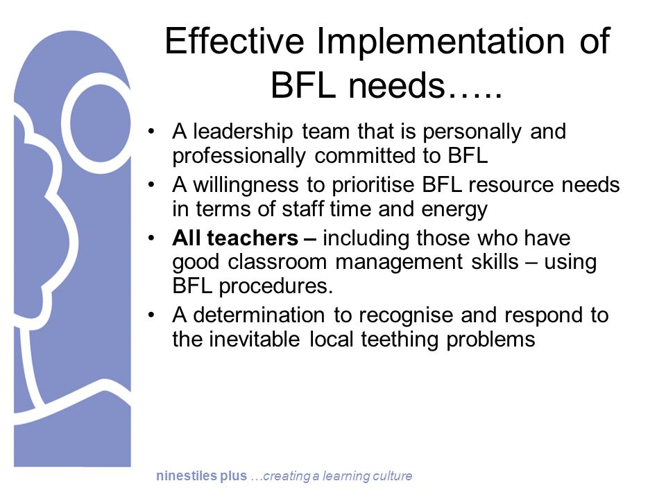 ninestiles plus …creating a learning culture Effective Implementation of BFL needs…..