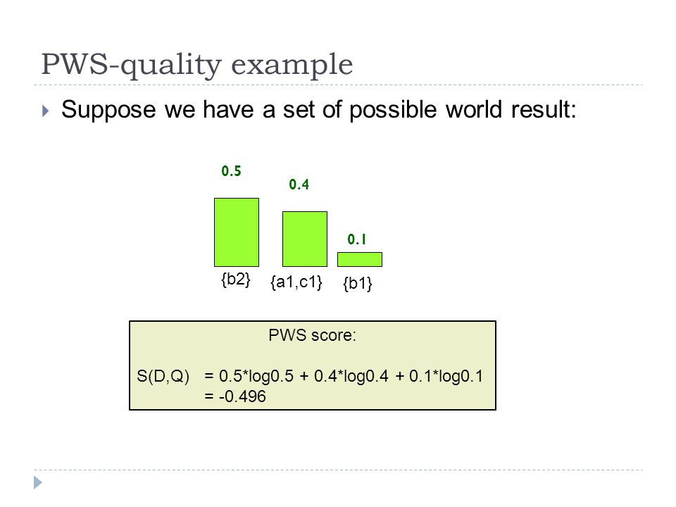 PWS-quality example  Suppose we have a set of possible world result: PWS score: S(D,Q) = 0.5*log0.5 + 0.4*log0.4 + 0.1*log0.1 = -0.496 0.4 0.1 {b1} {a1,c1} 0.5 {b2}