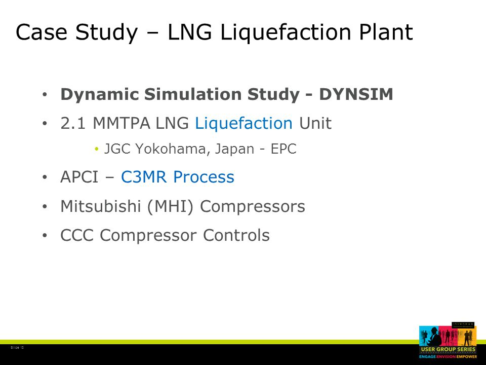 Slide 13 Case Study – LNG Liquefaction Plant Dynamic Simulation Study - DYNSIM 2.1 MMTPA LNG Liquefaction Unit JGC Yokohama, Japan - EPC APCI – C3MR Process Mitsubishi (MHI) Compressors CCC Compressor Controls