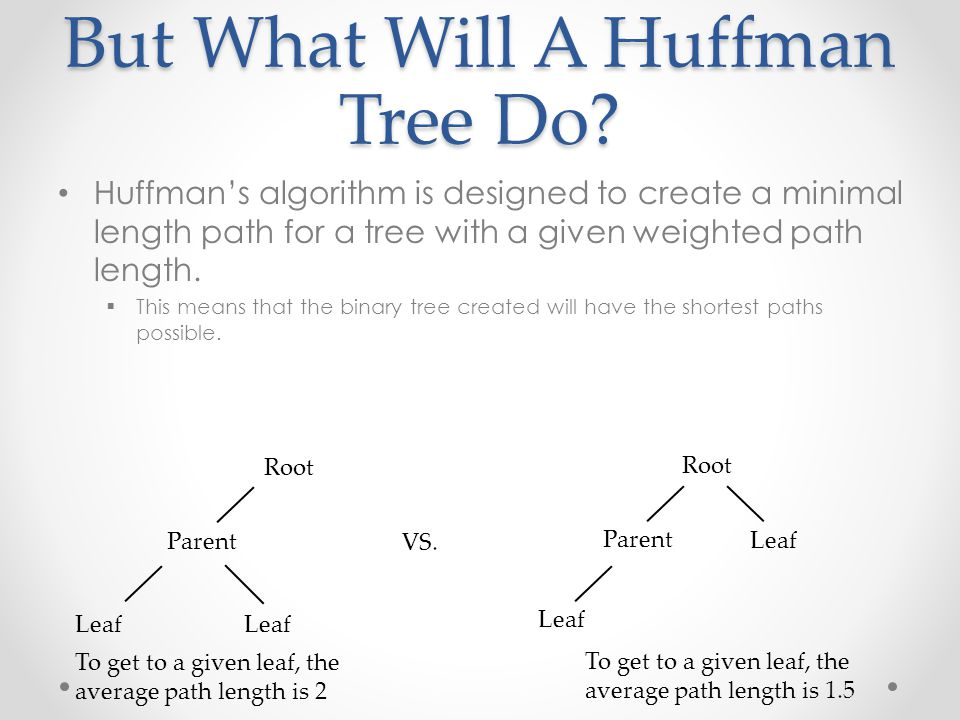 But What Will A Huffman Tree Do? Huffman's algorithm is designed to create a minimal length path for a tree with a given weighted path length.  This