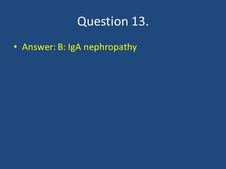 Question 13. Answer: B: IgA nephropathy